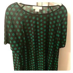 Lovely Semi-Sheer Black and Green Polka Dot Top